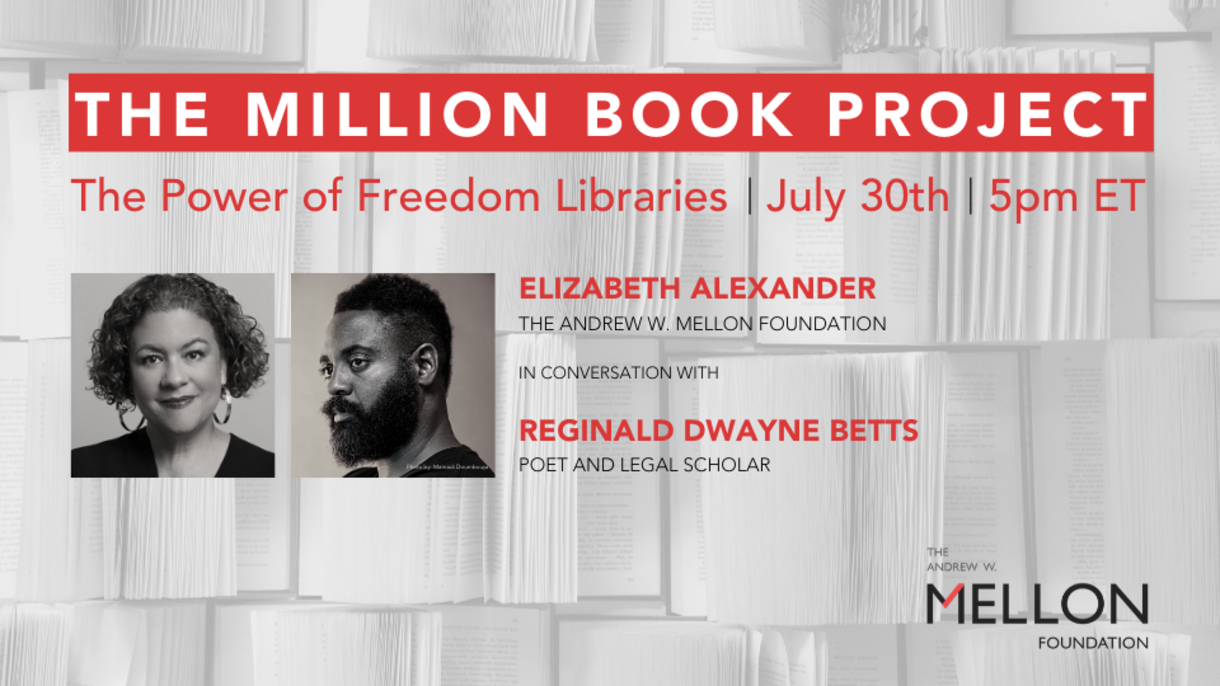 The Million Book Project flyer with images of Elizabeth Alexander and Reginald Dwayne Betts