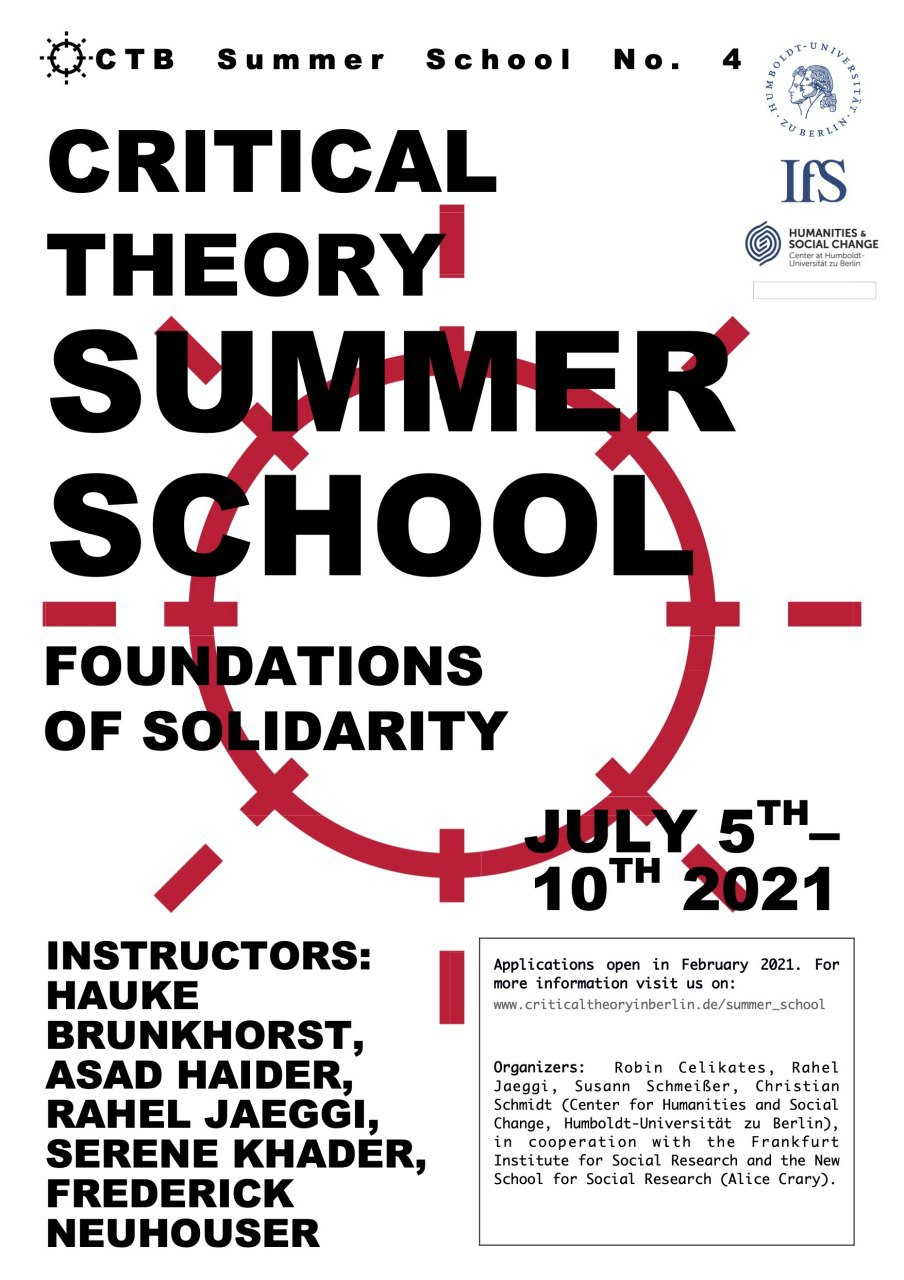 Critical Theory Summer School, Foundations of Solidarity flyer